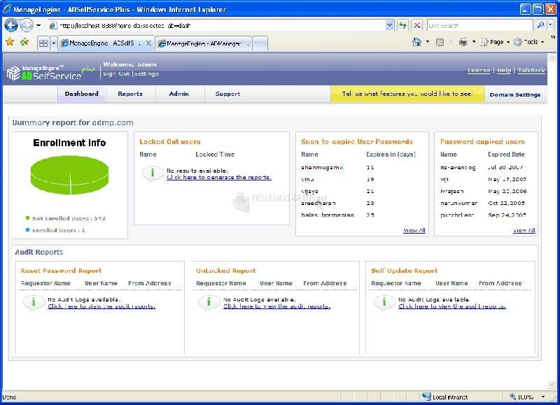 Pantallazo Manage Engine ADSelfService Plus