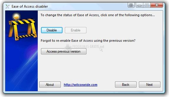 Pantallazo Ease of Access Disabler