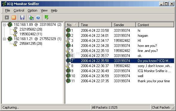 Pantallazo ICQ Monitor Sniffer