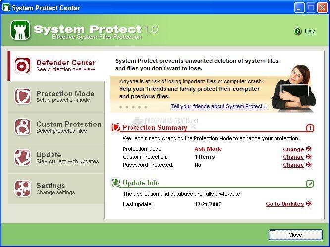Pantallazo Free System Protect