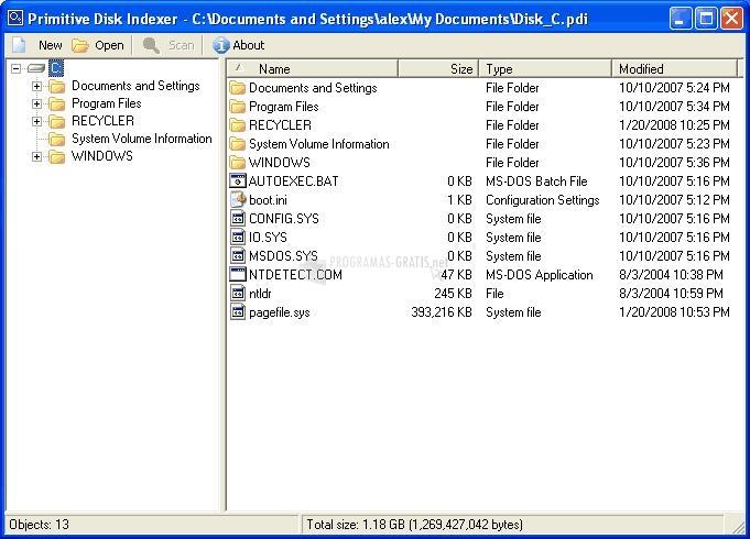 Pantallazo Primitive Disk Indexer
