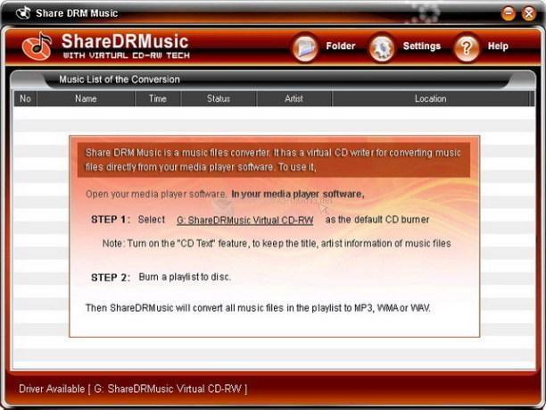 Pantallazo Share DRM Music