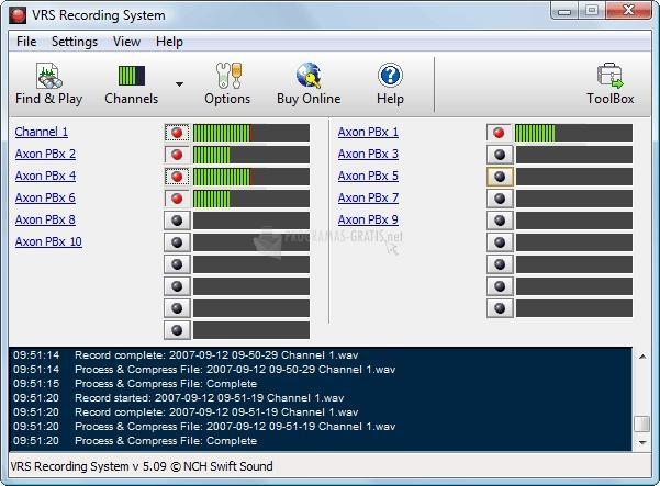 Pantallazo VRS Recording System