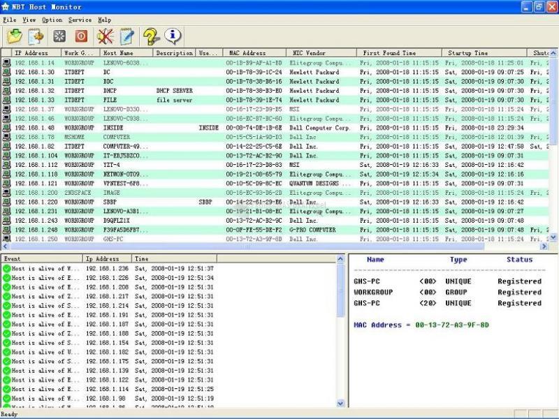 Pantallazo NBT Host Monitor