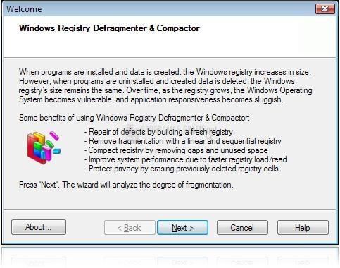 Pantallazo Registry Defragmenter and Compactor
