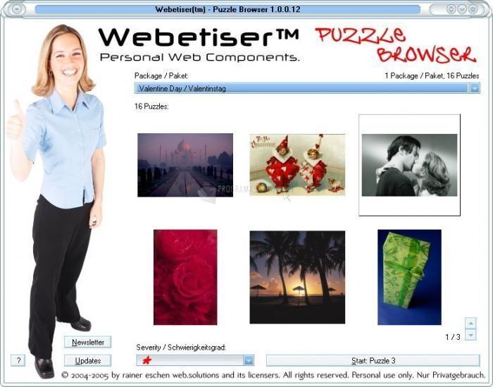 Pantallazo Webetiser Puzzles Valentine Day