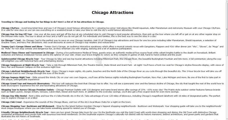 Pantallazo Chicago Attractions