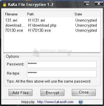 Pantallazo Kaka File Encryption