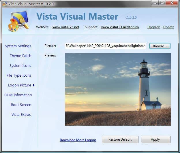 Pantallazo Vista Visual Master