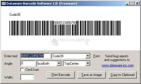 Pantallazo Dataware Barcode Software