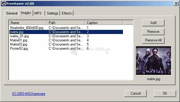 Pantallazo Freesaver MP3