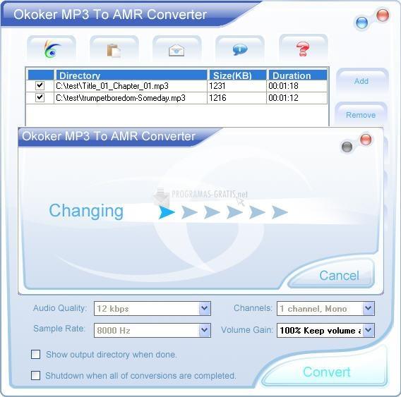 Pantallazo Okoker MP3 to AMR Converter