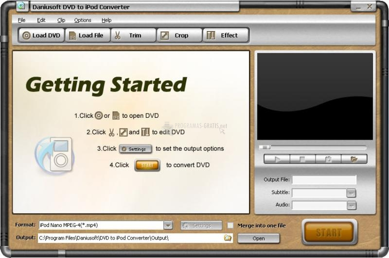 Pantallazo Daniusoft DVD to iPod Converter