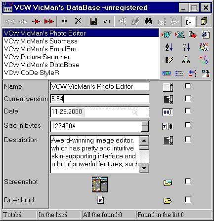 Pantallazo VCW VicMan`s DataBase