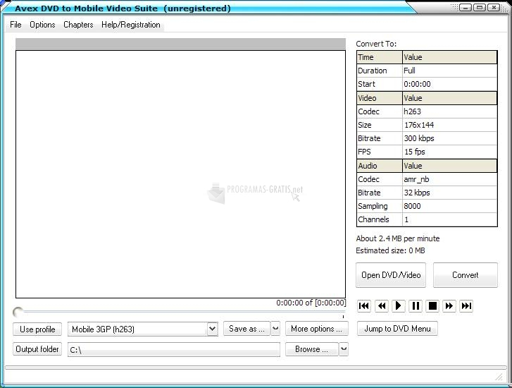 Pantallazo Avex DVD to Mobile Video Suite