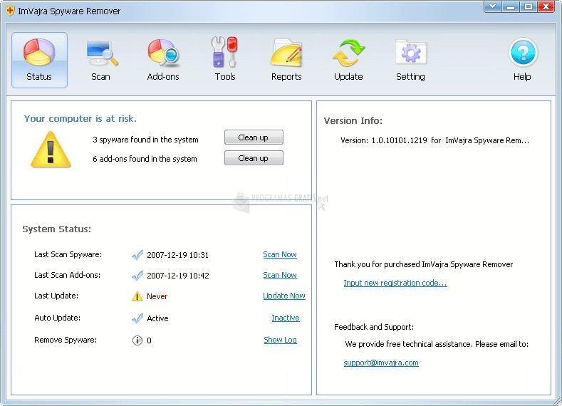 Pantallazo ImVajra Spyware Remover