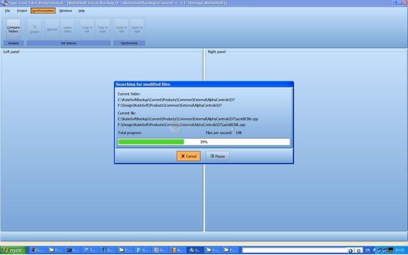 Pantallazo Sync Last Files Professional