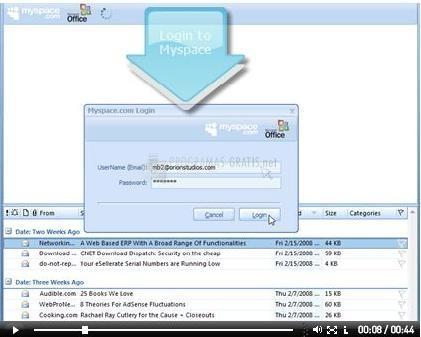Pantallazo Myspace for Outlook