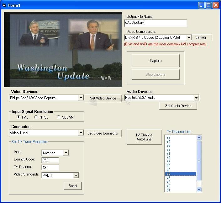 Pantallazo X360 Video Capture ActiveX Control