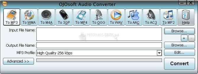 Pantallazo OJOsoft Audio Converter