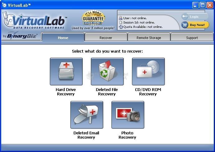 Pantallazo VirtualLab Data Recovery