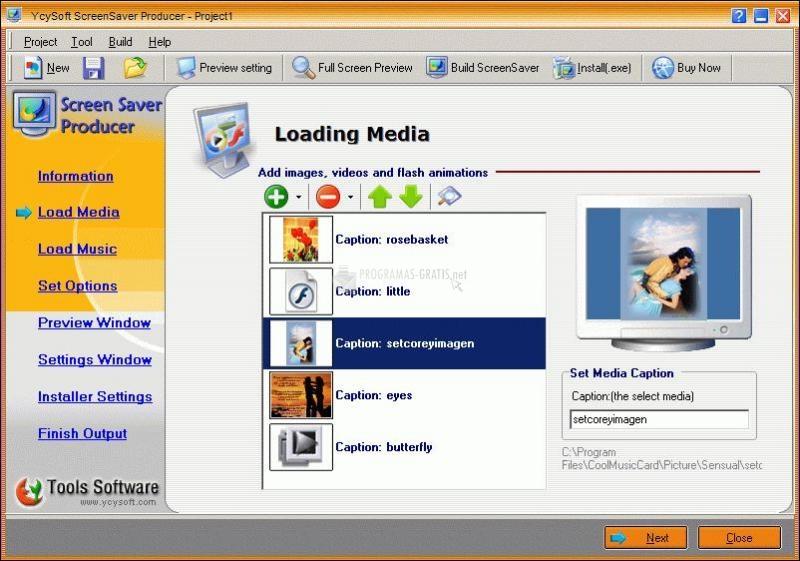 Pantallazo YcySoft ScreenSaver Producer