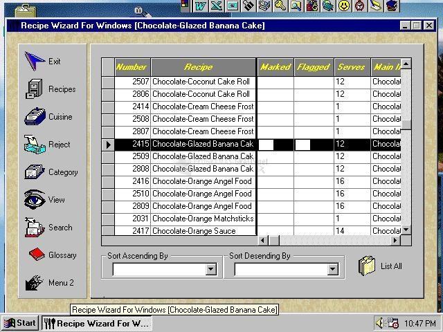 Pantallazo Recipe Wizard for Windows