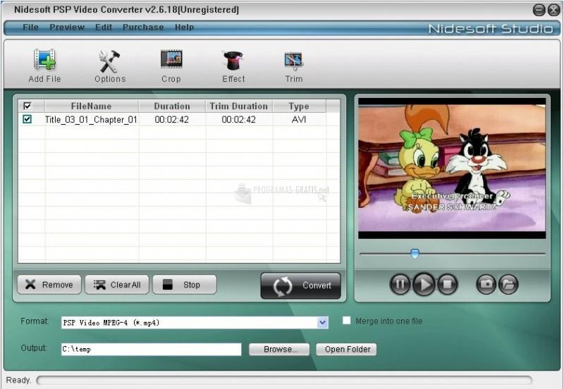 Pantalla Nidesoft PSP Video Converter