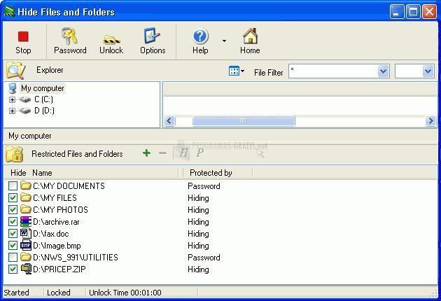 Pantallazo Hide Files and Folders