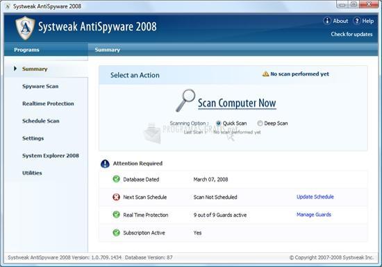 Pantallazo Systweak AntiSpyware 2008