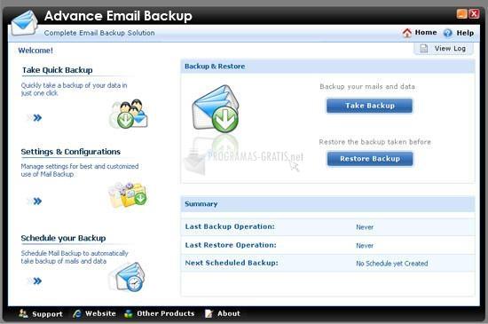 Pantallazo Advanced Email Backup