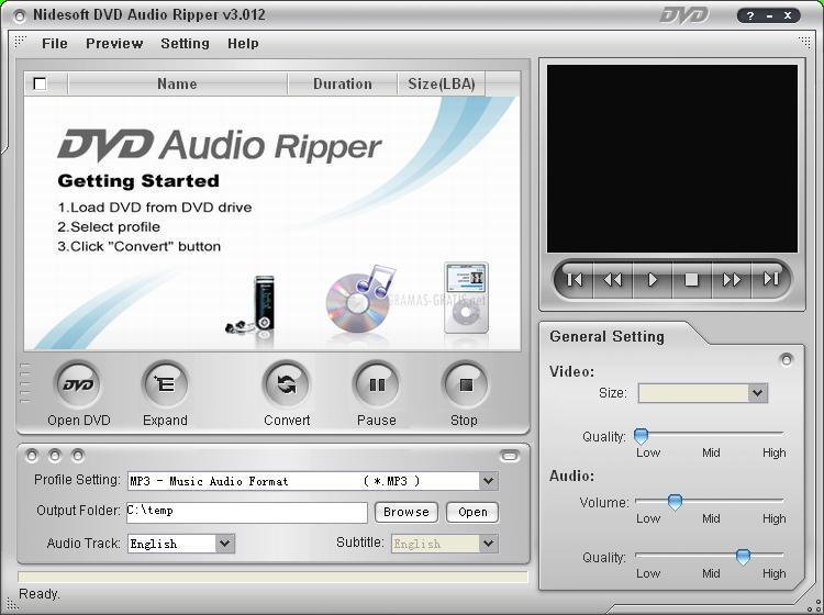 Pantallazo Nidesoft DVD Audio Ripper