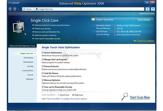 Pantallazo Advanced Vista Optimizer 2008