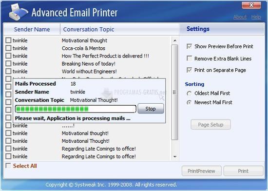 Pantallazo Advanced Email Printer