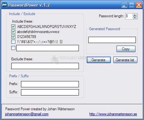 Pantallazo Password Power