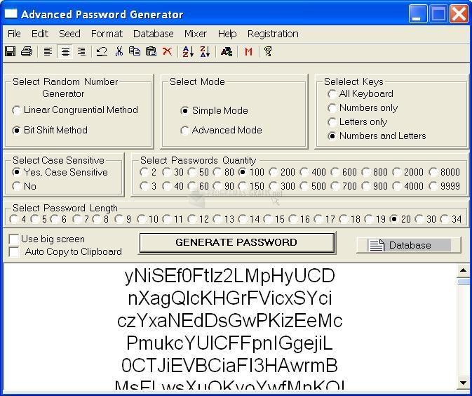 Pantallazo Advanced Password Generator