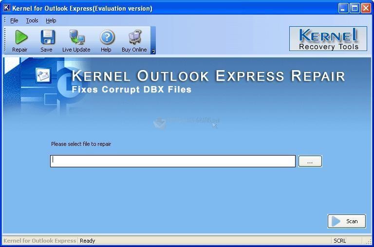 Pantallazo Nucleus Kernel Outlook Express