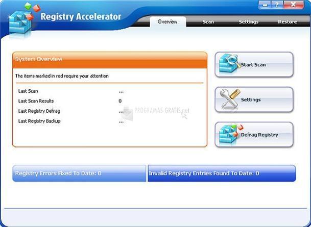 Pantallazo Free Registry Accelerator