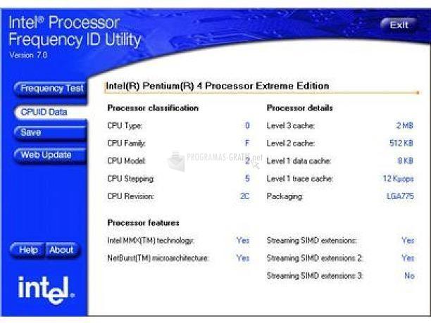 Pantallazo Intel Processor Frequency (Español)