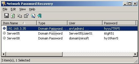 Pantallazo Network Password Recovery