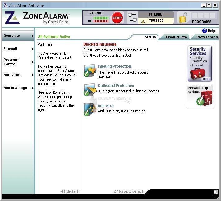Pantallazo ZoneAlarm Antivirus (Vista)