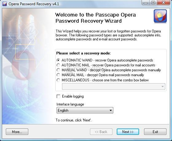 Screenshot Opera Password Recovery
