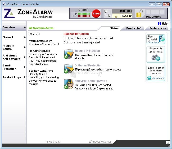 Pantallazo ZoneAlarm Internet Security Vista