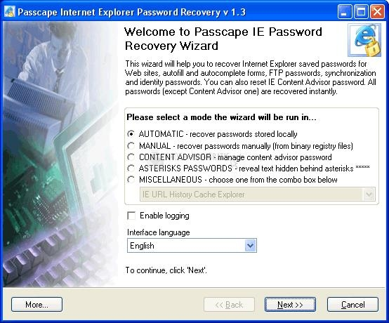 Pantallazo Passcape IE Password Recovery