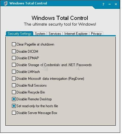 Pantallazo Windows Total Control