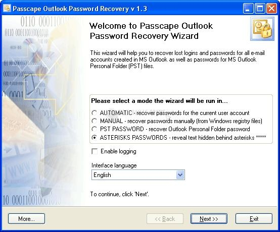 Pantallazo Passcape Outlook Password Recovery