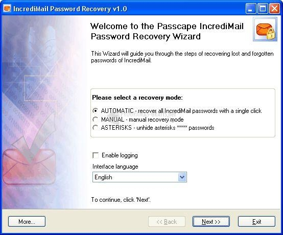 Pantallazo IncrediMail Password Recovery