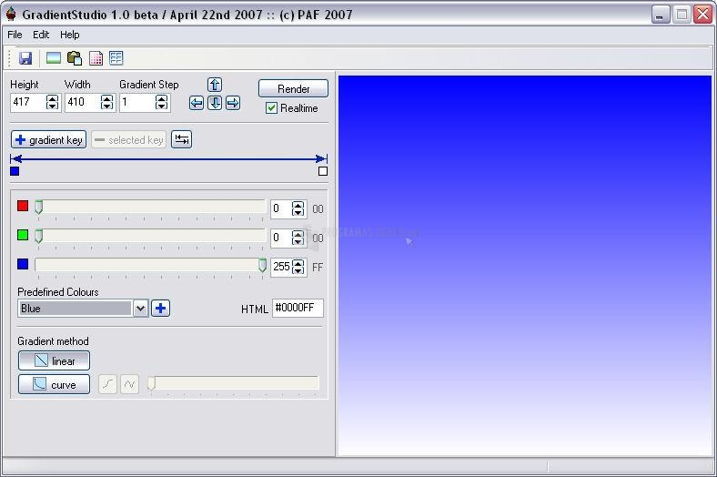 Pantallazo Gradient Studio Beta