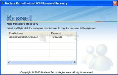 Foto Nucleus Kernel Hotmail MSN Password