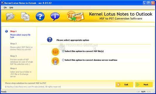Pantallazo N. Kernel Lotus Notes to Outlook